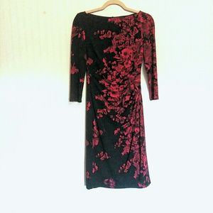 Chaps Floral Black Boat Neck Sheath Dress Sleeve